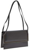 Art Glass:Daum, Salvatore Ferragamo Gunmetal Metallic Leather Structured Bag withEnamel Hardware. ...