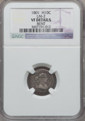 Early Half Dimes, 1801 H10C -- Bent -- NGC Details. VF. V-1, LM-2, R.4....