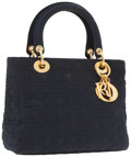 Luxury Accessories:Accessories, Christian Dior Navy Blue Microfiber Cannage Lady Dior Tote Bag. ...