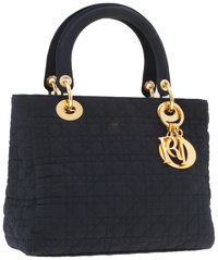 Christian Dior Navy Blue Microfiber Cannage Lady Dior Tote Bag