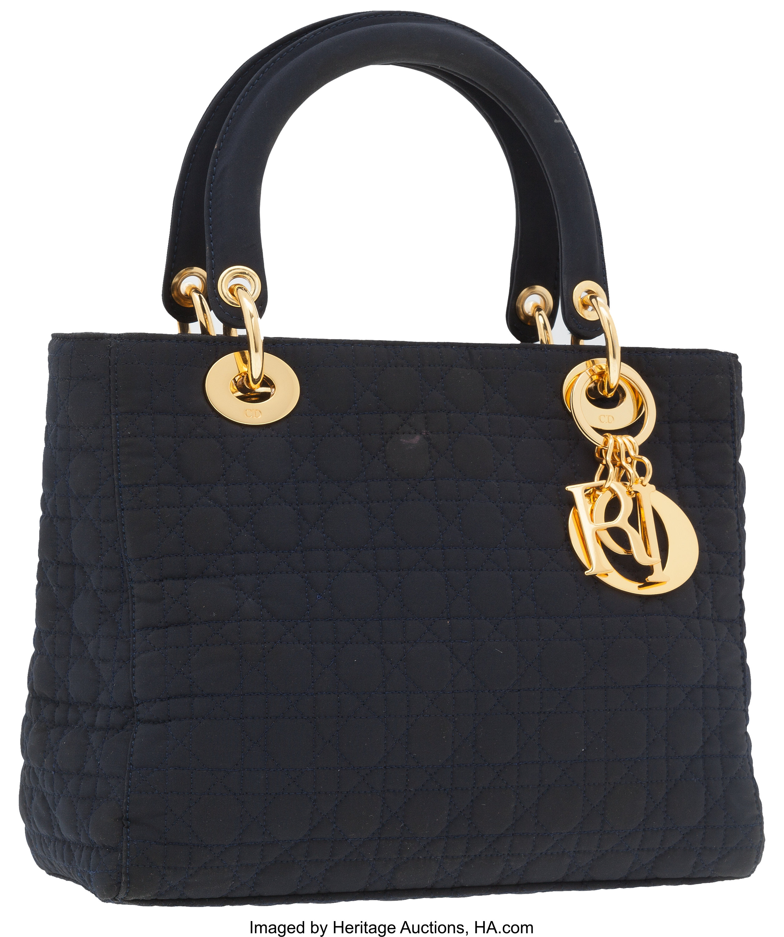 8dabe68907f Christian Dior Navy Blue Microfiber Cannage Lady Dior Tote Bag. ... | Lot  #76034 | Heritage Auctions