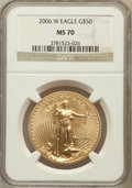 Modern Bullion Coins, 2006-W $50 One-Ounce Gold Eagle MS70 NGC. NGC Census: (3004). PCGSPopulation (522). ...