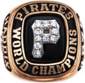 Baseball Collectibles:Others, 1979 Pittsburgh Pirates World Championship Ring Presented to HarveyHaddix....