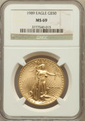 Modern Bullion Coins: , 1989 G$50 One-Ounce Gold Eagle MS69 NGC. NGC Census: (820/5). PCGSPopulation (664/9). Mintage: 415,790. Numismedia Wsl. Pr...