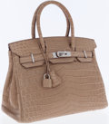 Luxury Accessories:Bags, Hermes 30cm Matte Poussiere Nilo Crocodile Birkin Bag withPalladium Hardware. ...