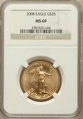 Modern Bullion Coins, 2008 $25 Half-Ounce Gold Eagle MS69 NGC. NGC Census: (2341/1732).PCGS Population (26/0). Numismedia Wsl. Price for proble...