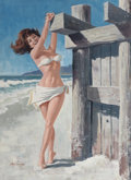 Pulp, Pulp-like, Digests, and Paperback Art, ARTHUR SARON SARNOFF (American, 1912-2000). Brunette in WhiteBikini on the Beach. Gouache and tempera on board. 29.5 x ...