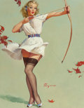 Pin-up and Glamour Art, GIL ELVGREN (American, 1914-1980). Aiming High (Will WilliamTell?), 1959. Oil on canvas. 30 x 24 in.. Signed lower cent...