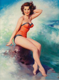 Pin-up and Glamour Art, WILLIAM MEDCALF (American, 20th Century). Pin-Up Posing Next tothe Surf. Oil on board. 39 x 29 in. (image). Signed lowe...