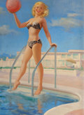 Pin-up and Glamour Art, ART FRAHM (American, 1906-1981). A Bathing Beauty with BeachBall, calendar illustration, circa 1950s. Oil on canvas lai...