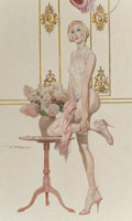 Pin-up and Glamour Art, ROBERT MCGINNIS (American, b. 1926). Melissa, 2013. Oil onmasonite. 16.5 x 10 in. (image). Signed center left. ...