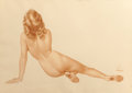 Paintings, ALBERTO VARGAS (American, 1896-1982). Her Back View, circa 1940s-50s. Pencil and watercolor on paper. 20.25 x 28.5 in. (...