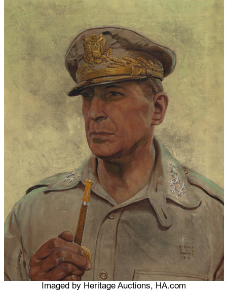 HAROLD VON SCHMIDT (American, 1893-1982)General Doug MacArthur, Look Magazine cover, March 20, 1945Oil on canvas23...