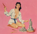 Pin-up and Glamour Art, AL BRULE (American, 20th Century). Perfecting Her Sculpture,Esquire calendar illustration, June 1959. Oil on board. 17...(Total: 2 Items)