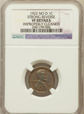 Lincoln Cents, 1922 No D 1C Strong Reverse -- Improperly Cleaned -- NGC Details.VF. NGC Census: (0/0). PCGS Population (546/2475). Numis...