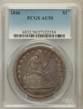 Seated Dollars: , 1846 $1 AU50 PCGS. PCGS Population (84/227). NGC Census: (32/271).Mintage: 110,600. Numismedia Wsl. Price for problem free...
