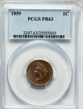 Proof Indian Cents: , 1859 1C PR63 PCGS. PCGS Population (34/211). NGC Census: (26/146).Mintage: 800. Numismedia Wsl. Price for problem free NGC...