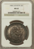 Commemorative Silver: , 1900 $1 Lafayette Dollar MS62 NGC. NGC Census: (408/1568). PCGSPopulation (454/2063). Mintage: 36,026. Numismedia Wsl. Pri...