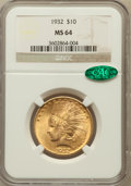 Indian Eagles: , 1932 $10 MS64 NGC. CAC. NGC Census: (11164/2557). PCGS Population(8937/1250). Mintage: 4,463,000. Numismedia Wsl. Price fo...