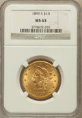 Liberty Eagles: , 1899-S $10 MS63 NGC. NGC Census: (53/23). PCGS Population (53/16).Mintage: 841,000. Numismedia Wsl. Price for problem free...