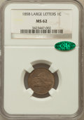 Flying Eagle Cents: , 1858 1C Large Letters MS62 NGC. CAC. NGC Census: (16/148). PCGSPopulation (185/1079). Mintage: 24,600,000. Numismedia Wsl....