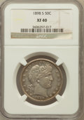 Barber Half Dollars: , 1898-S 50C XF40 NGC. NGC Census: (7/72). PCGS Population (16/100).Mintage: 2,358,550. Numismedia Wsl. Price for problem fr...