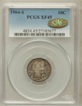 Barber Dimes, 1904-S 10C XF45 PCGS. CAC Gold. PCGS Population (18/102). NGCCensus: (6/65). Mintage: 800,000. Numismedia Wsl. Price for p...
