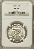 Walking Liberty Half Dollars: , 1929-S 50C MS62 NGC. NGC Census: (52/459). PCGS Population(49/641). Mintage: 1,902,000. Numismedia Wsl. Price for problem ...