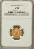 Classic Quarter Eagles, 1836 $2 1/2 Block 8 XF45 NGC. NGC Census: (185/958). PCGSPopulation (64/332). Mintage: 547,986. Numismedia Wsl. Price for...