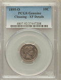 Barber Dimes, 1895-O 10C -- Cleaning -- PCGS Genuine. XF Details. NGC Census: (9/54). PCGS Population (19/81). Mintage: 440,000. Numi...