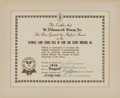 Miscellaneous Collectibles:General, 1962 Ellsworth Vines National Lawn Tennis Hall of Fame InductionCertificate....