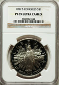 Modern Issues: , 1989-S $1 Congress Silver Dollar PR69 Ultra Cameo NGC. NGC Census:(3170/65). PCGS Population (2513/69). Mintage: 762,198. ...