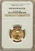 Modern Bullion Coins, 1988 G$10 Quarter-Ounce Gold Eagle Gem Uncirculated NGC. NGC Census: (1/1446). PCGS Population (0/750). Mintage: 49,000. Nu...