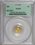 California Fractional Gold: , Undated $1 Liberty Octagonal 1 Dollar, BG-501, Low R.5, AU58 PCGS.. PCGS Population (17/13). (#10478)...