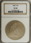 Seated Dollars: , 1845 $1 XF40 NGC. NGC Census: (8/106). PCGS Population (20/112).Mintage: 24,500. Numismedia Wsl. Price for NGC/PCGS coin i...