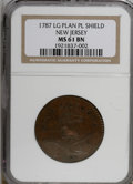 1787 COPPER New Jersey Copper, Large Planchet, Plain Shield MS61 Brown NGC. NGC Census: (0/0). PCGS Population (1/3). (#...