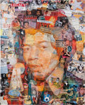 "Music Memorabilia:Original Art, Jimi Hendrix ""Up From the Sky"" Art Collage by Anthony Brown...."