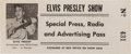 Music Memorabilia:Tickets, Elvis Presley Show Special Press, Radio and Advertising Pass(1956)....