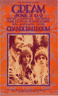 Music Memorabilia:Posters, Cream Grande Ballroom Concert Poster Signed by Gary Grimshaw (RussGibb, 1968)....