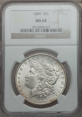 Morgan Dollars: , 1899 $1 MS64 NGC. NGC Census: (2830/669). PCGS Population(3709/1315). Mintage: 330,846. Numismedia Wsl. Price for problem...