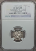 Barber Dimes: , 1901-S 10C -- Improperly Cleaned -- NGC Details. AU. NGC Census:(1/50). PCGS Population (3/64). Mintage: 593,022. Numismed...
