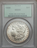 Morgan Dollars: , 1899 $1 MS65 PCGS. PCGS Population (1099/216). NGC Census:(588/81). Mintage: 330,846. Numismedia Wsl. Price for problem fr...