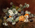 Fine Art - Painting, European:Other , LOUIS MARIE DE SCHRYVER (French, 1862-1912). Still Life withFruits and Flowers. Oil on canvas. 25-1/2 x 32 inches (64.8...