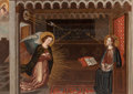 Fine Art - Painting, European, SPANISH SCHOOL (Late 18th/Early 19th Century). TheAnnunciation. Canvas laid on aluminum honeycomb panel. 23-1/2 x33 in...
