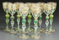 Decorative Arts, Continental, A SET OF ELEVEN ITALIAN GILT AND ENAMELED GLASS WINE STEMS . 20thcentury. 7-5/8 inches high (19.4 cm). PROPERTY FROM A PR... (Total:11 Items)