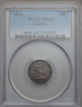 Seated Dimes: , 1854 10C Arrows MS64 PCGS. PCGS Population (45/30). NGC Census:(47/40). Mintage: 4,470,000. Numismedia Wsl. Price for prob...