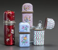 Decorative Arts, Continental:Other , FOUR ENGLISH ENAMELED METAL PERFUME CASES. 19th century. 3 incheslong (7.6 cm) (longest). ... (Total: 4 Items)