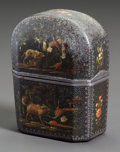 Paintings, A PERFUME SET IN LACQUERED CASE PAINTED WITH HUNTING DOGS. 18th century. 3-1/4 inches high (8.3 cm). ...