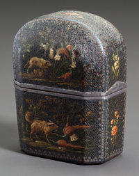 A PERFUME SET IN LACQUERED CASE PAINTED WITH HUNTING DOGS 18th century 3-1/4 inches high (8.3 cm)