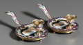 Decorative Arts, Continental:Lamps & Lighting, A PAIR OF ITALIAN MICROMOSAIC, ENAMEL AND GILT METAL CHAMBERSTICKS.20th century. 3 inches high x 8-1/4 inches wide (7.6 x 2... (Total:2 Items)